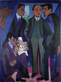 Ernst Ludwig Kirchner (1880-1938)  A Group of Artists (The Painters of the Brücke), 1925-26  Museum Ludwig, Cologne  Photo: © Rheinisches Bildarchiv Cologne